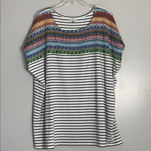 NWT Avenue Embroidered stripe Colorful t-shirt